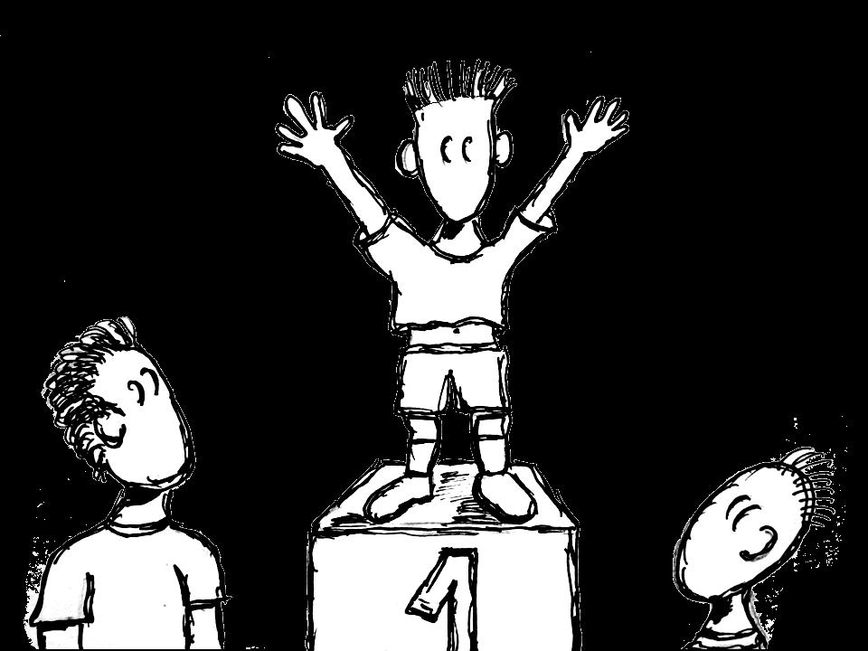 Mann auf Siegerpodest