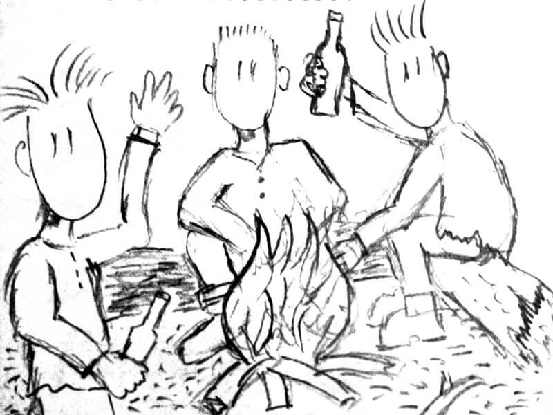 Männer am Lagerfeuer erzählen Geschichten