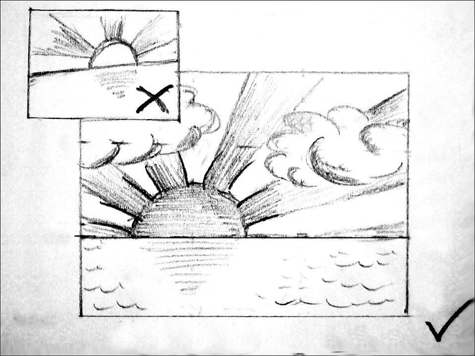 Skizze Sonnenuntergang