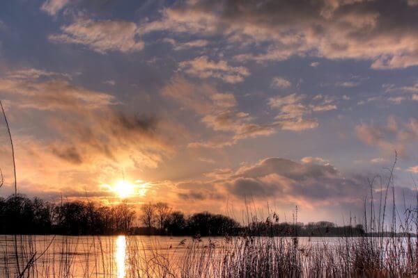 Sonnenuntergang an der Elbe bei Lauenburg