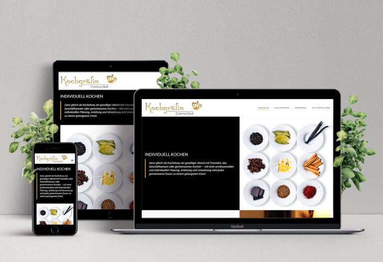 Darstellung Webauftritt der Kochgräfin auf unterschiedlichen Devices