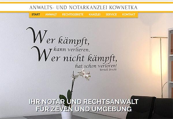 Screenshot Referenz Kanzlei Kownetka