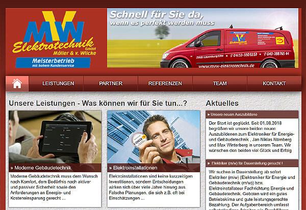 Screenshot Referenz MVW Elektrotechnik aus Lauenburg